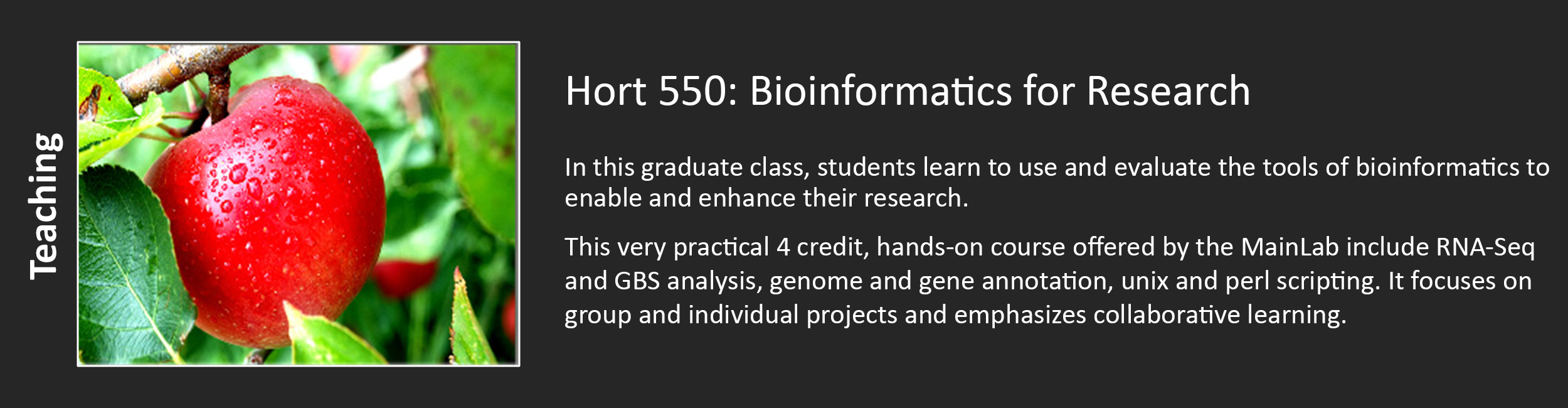 Hort 550: Bioinformatics for Research